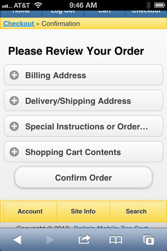 Zen Cart Mobile Template Review Order